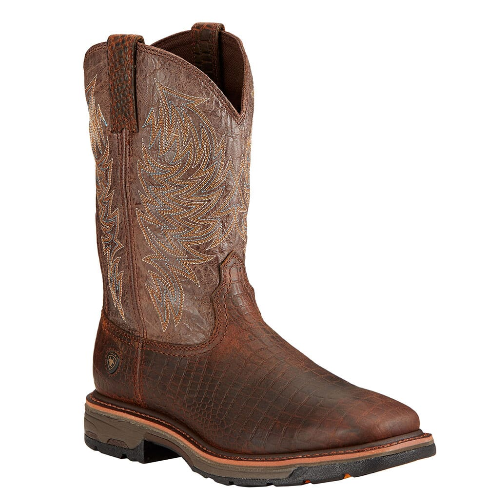 Image for Ariat Men's Workhog Work Boots - Brown Crocodile Print from bootbay