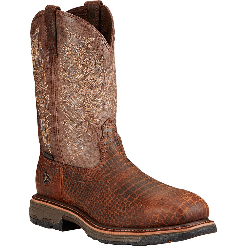 Image for Ariat Men's Workhog Safety Boots - Brown Crocodile Print from bootbay