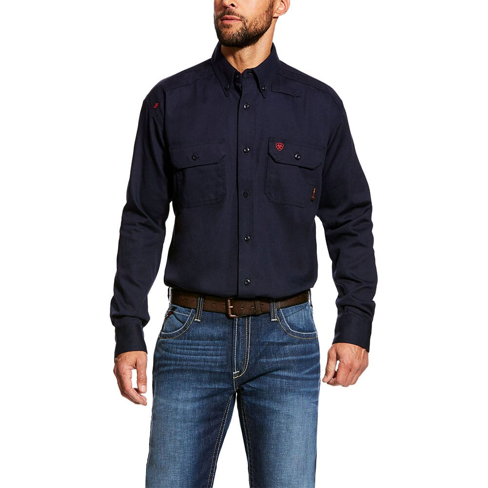 Image for Ariat Men's FR Solid Work Shirt - Navy from bootbay
