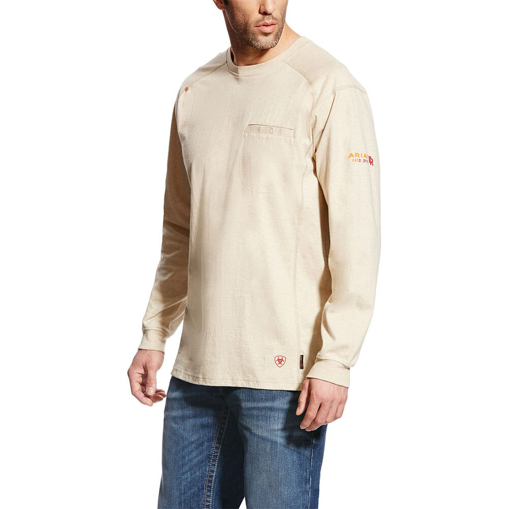 Image for Ariat Men's FR Air Crew LS Shirt - Sand Heather from bootbay