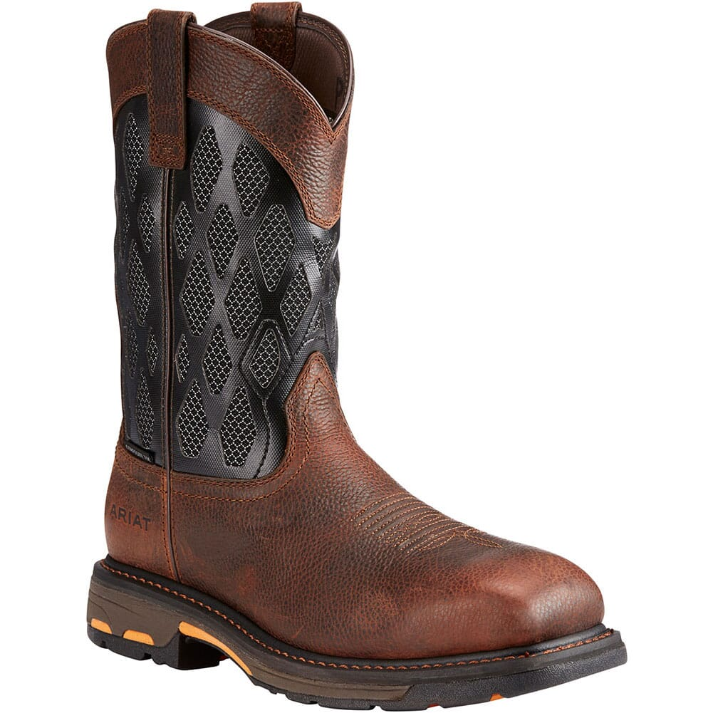 Image for Ariat Men's Workhog VentTek Safety Boots - Charcoal/Brown from bootbay