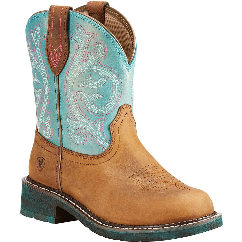 Image for Ariat Women's Fatbaby Heritage Western Boots - Distressed Brown/Turquoi from elliottsboots
