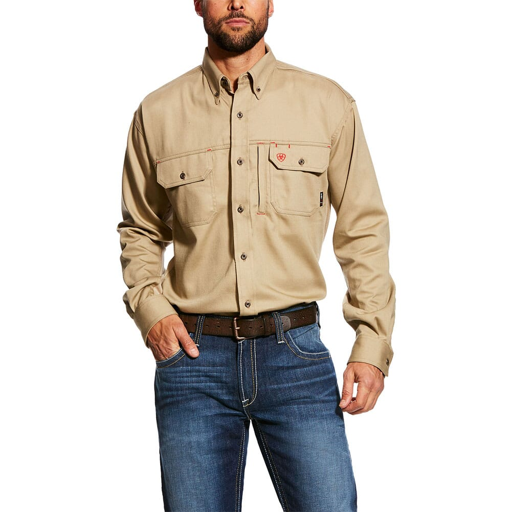 Image for Ariat Men's FR Solid Vent Work Shirt - Khaki from bootbay