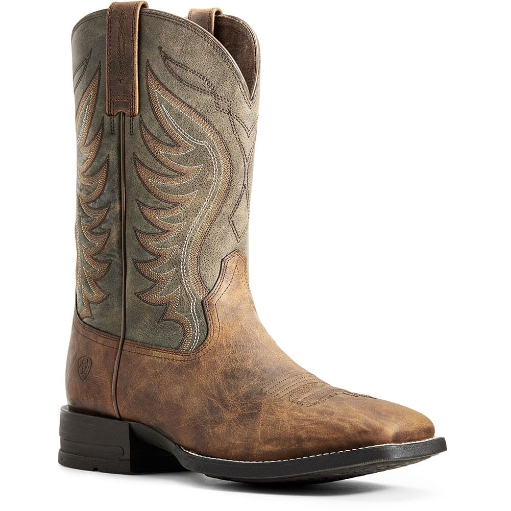 Image for Ariat Men's Amos Western Boots - Sorrel Crunch/Army Green from bootbay