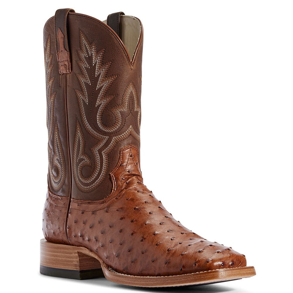 Image for Ariat Men's Barker Full Quill Ostrich Western Boots - Autumn Tan from bootbay