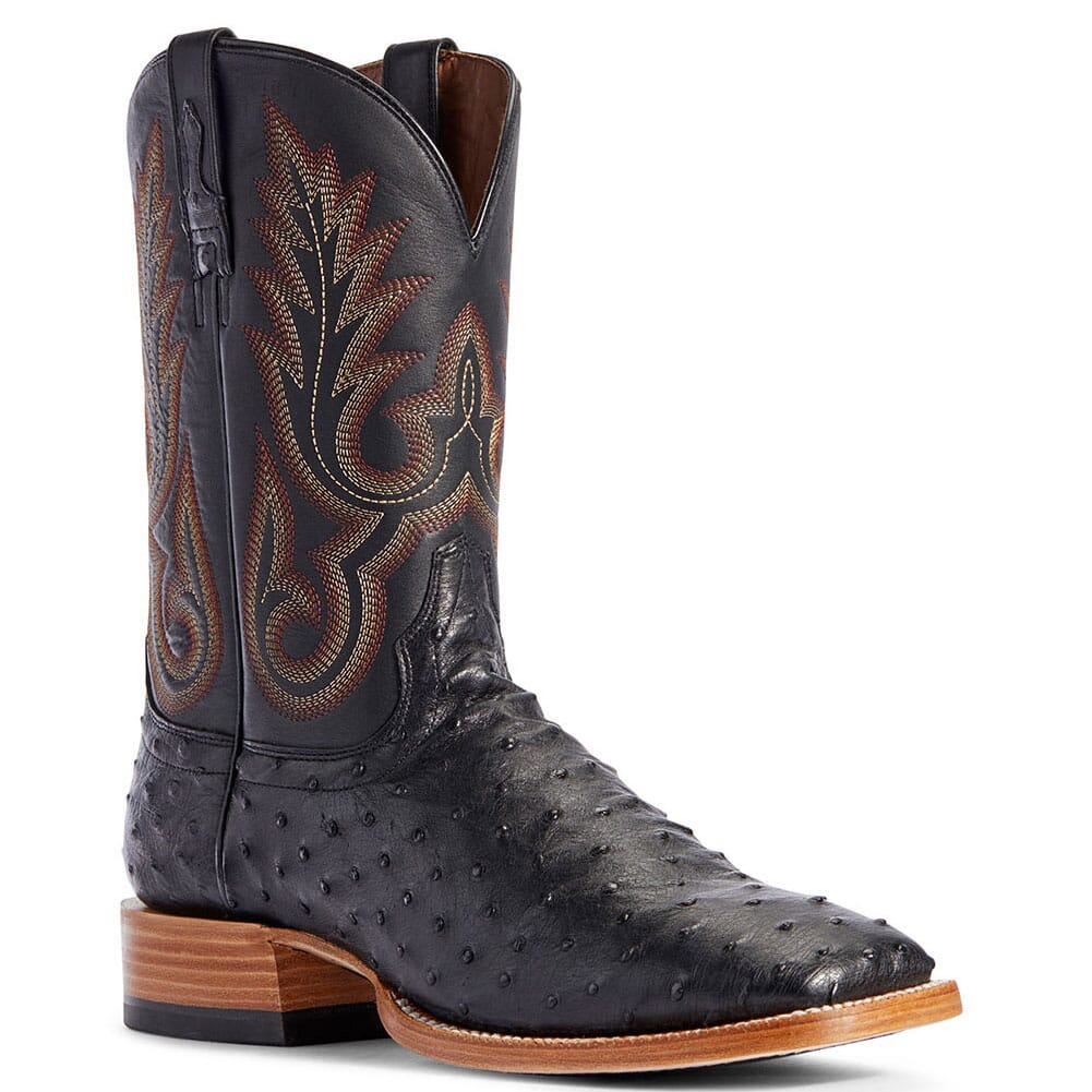 Image for Ariat Men's Barker Full Quill Ostrich Western Boots - Black from bootbay