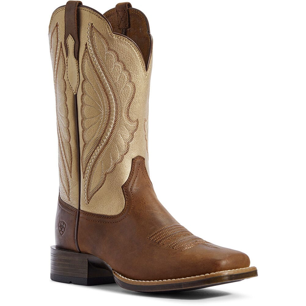 Image for Ariat Women's Primetime Tack Western Boots - Sassy Brown/Pop Gold from elliottsboots