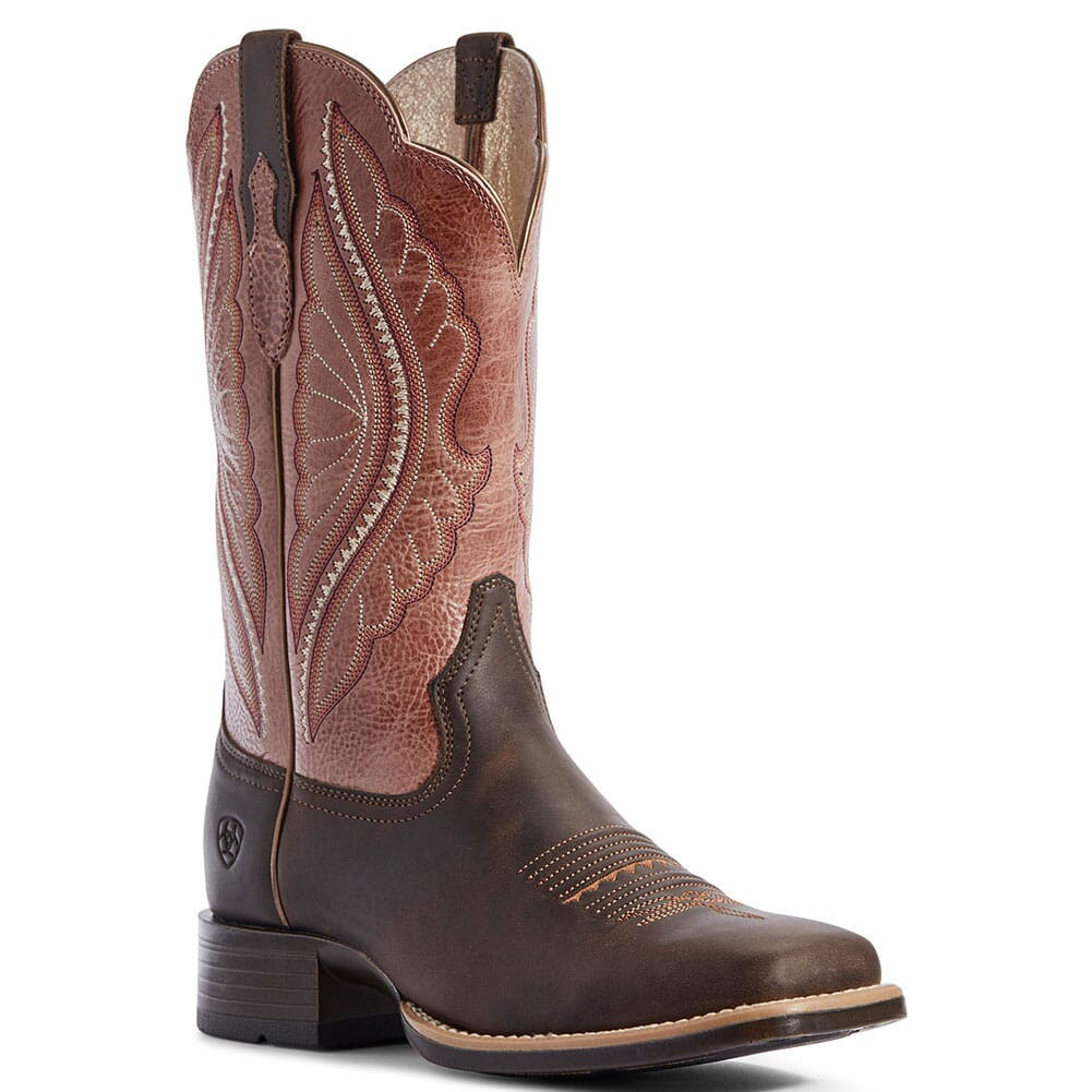 Image for Ariat Women's Primetime Tack Western Boots - Dark Java/Petal Pink from elliottsboots