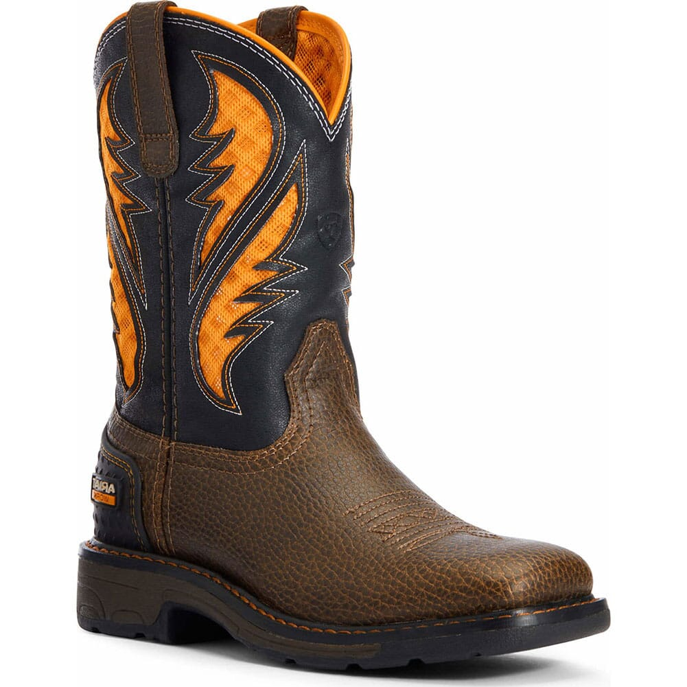Image for Ariat Kid's VentTEK Western Boots - Cocoa/Work Orange from bootbay