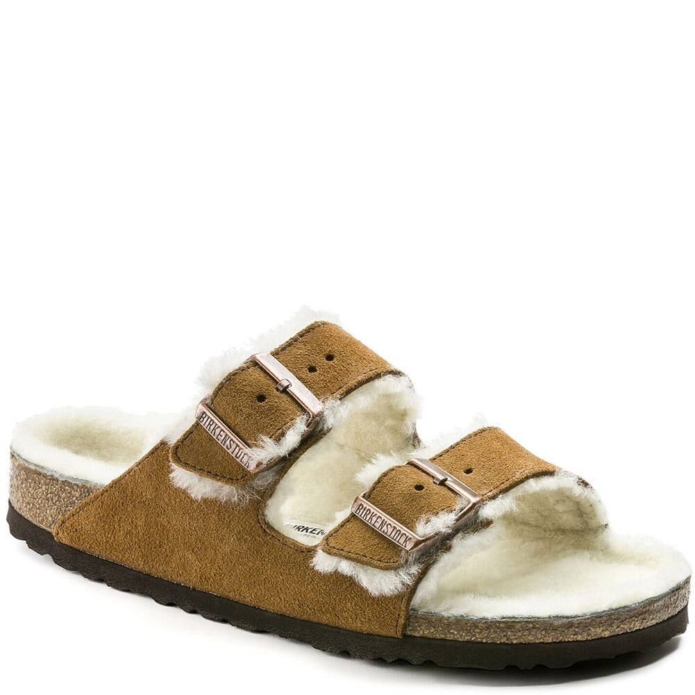 Image for Birkenstock Women's Arizona Shearling Sandals - Mink/Natural from bootbay