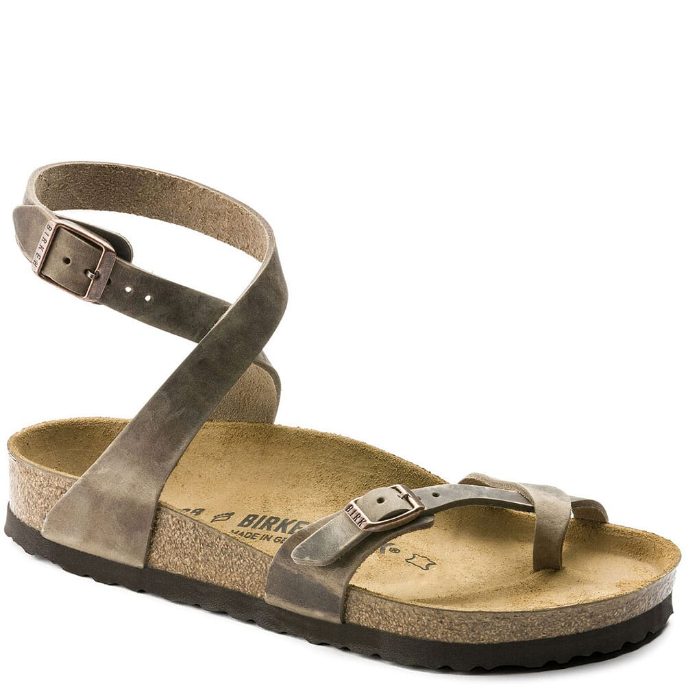 Image for Birkenstock Women's Yara Oiled Leather Casual Shoes - Tobacco from bootbay