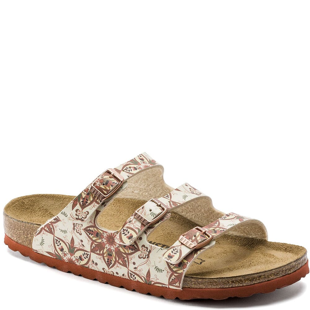 Image for Birkenstock Women's Florida Birko-Flor Sandals - Boho Flowers Earth Red from bootbay