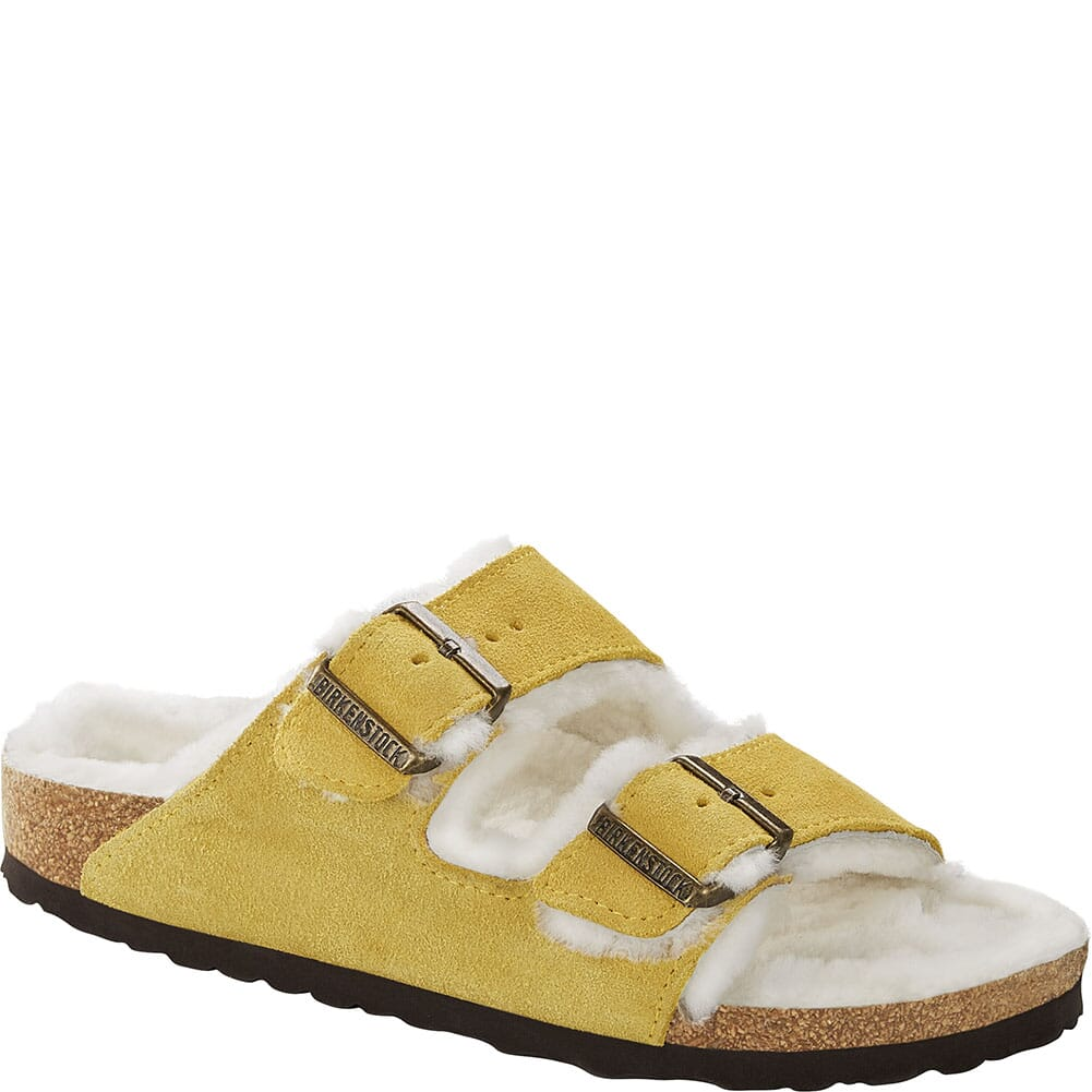 Image for Birkenstock Women's Arizona Shearling Sandals - Ochre-Beige from bootbay