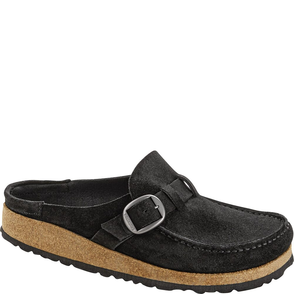 Image for Birkenstock Women's Buckley Suede Leather Slip Ons - Black from bootbay