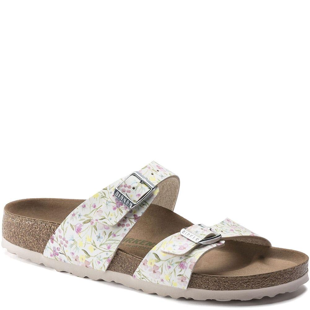 Image for Birkenstock Women's Sydney Vegan Sandals - Watercolor Flower White from elliottsboots