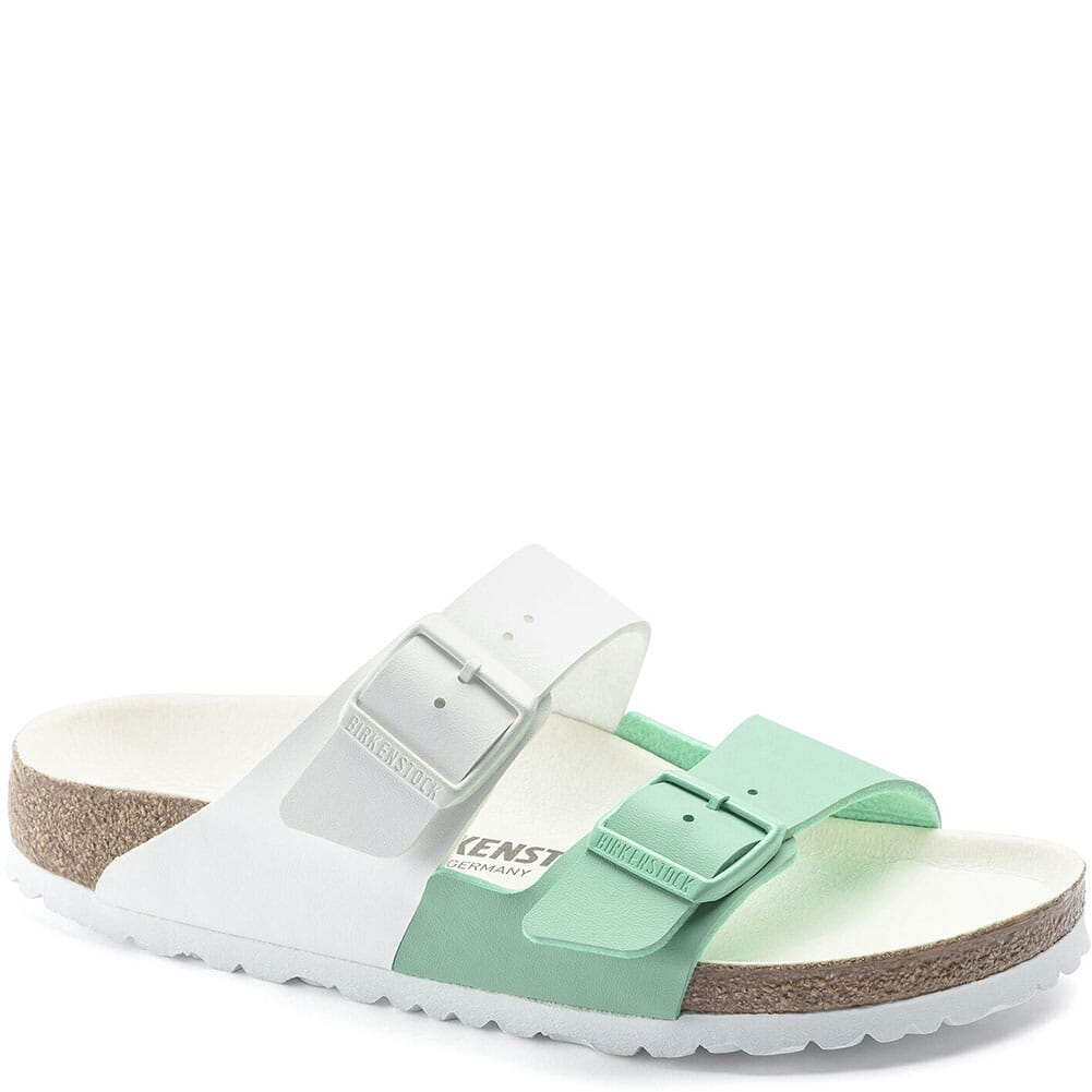 Image for Birkenstock Women's Arizona Split Sandals - White/Jade from elliottsboots