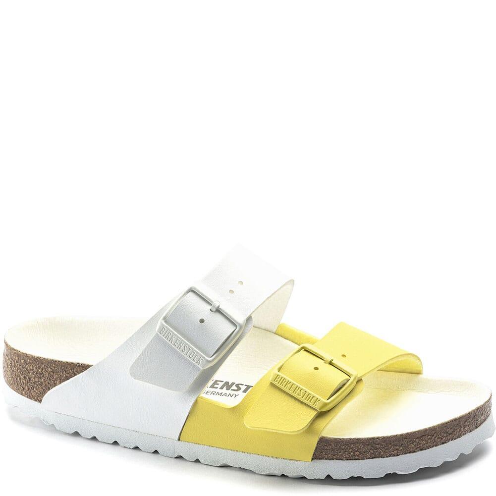 Image for Birkenstock Women's Arizona Split Sandals - White/Lime Sour from elliottsboots