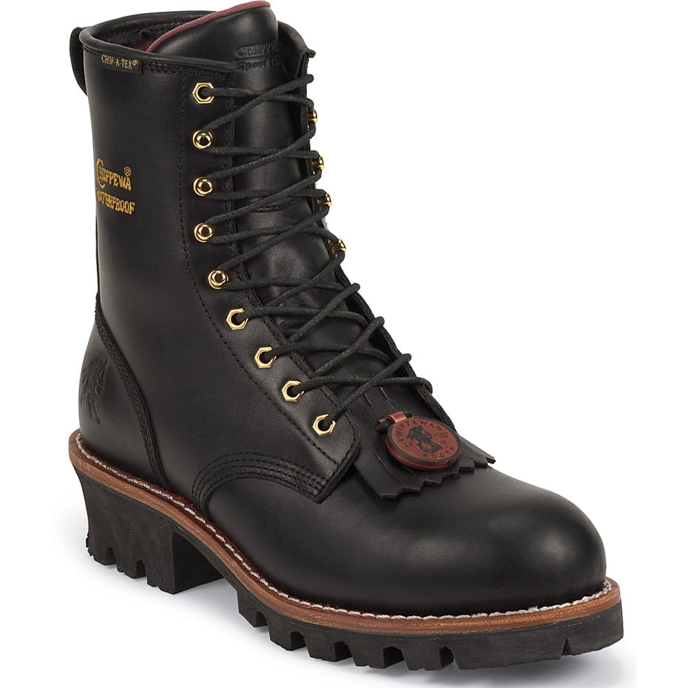 Image for Chippewa Men's WP INS Steel Safety Loggers - Black from bootbay