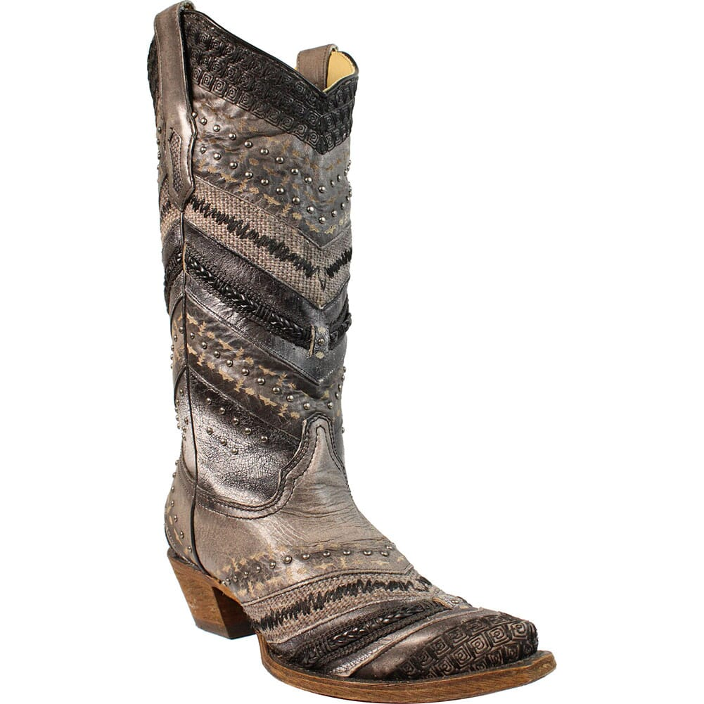 Image for Corral Women's Embroidery & Stud Western Boots - Grey from elliottsboots