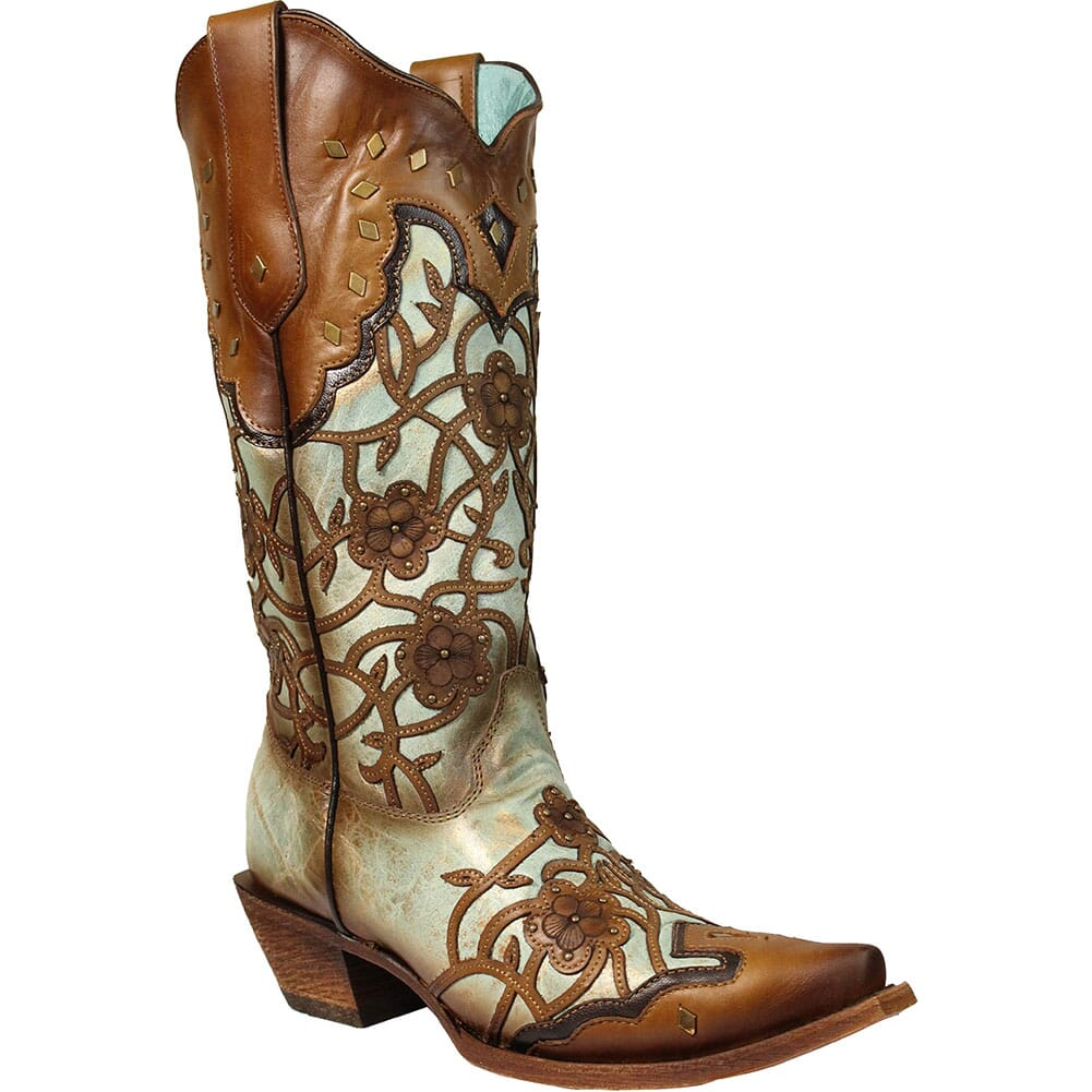Image for Corral Women's Flowers Overlay & Studs Western Boots - Maple/Mint from elliottsboots