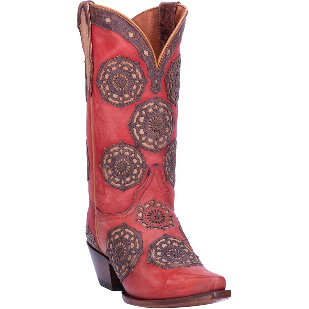 Image for Dan Post Women's Circus Flower Western Boots - Red from elliottsboots