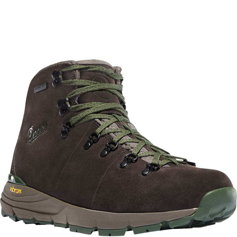 Image for Danner Men's Mountain 600 Hiking Boots - Dark Brown/Green from bootbay