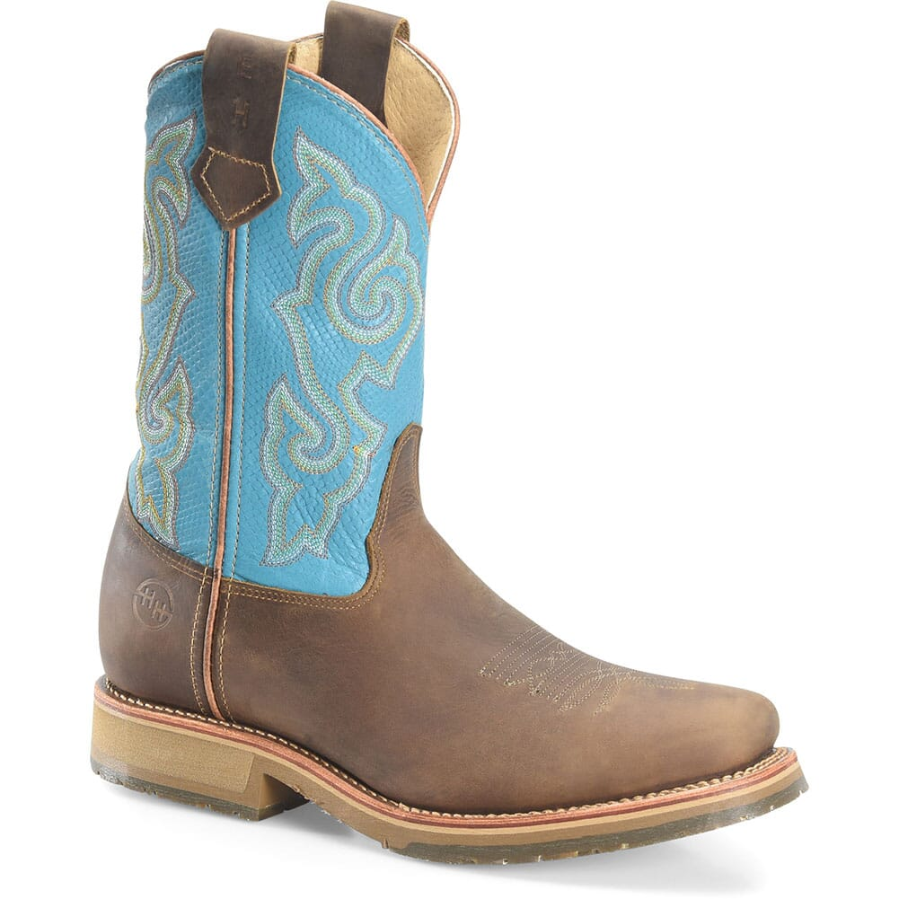 Image for Double H Men's Domestic ICE Safety Ropers - Azul Arizona/Brown from bootbay