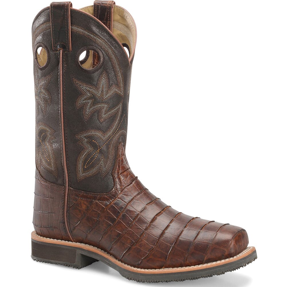 Image for Double H Men's Gator Print Safety Boots - Chocolate from bootbay