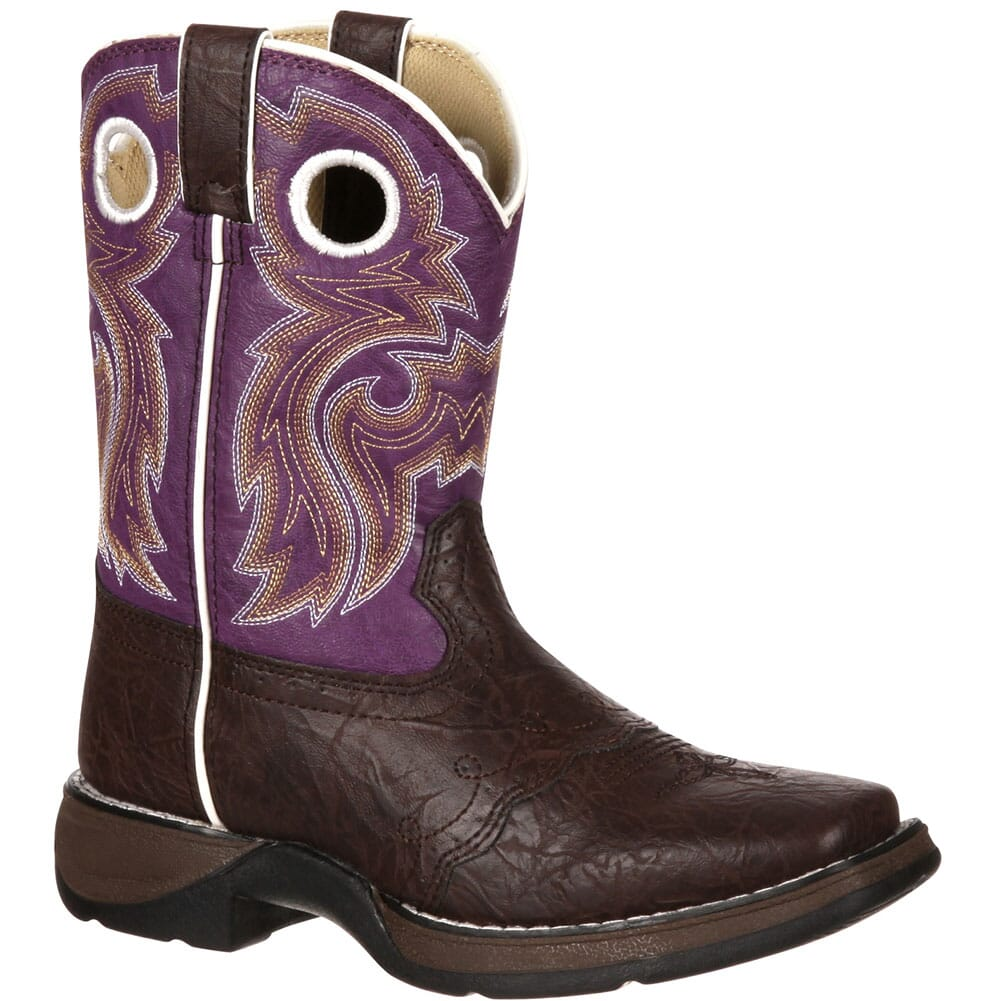 Image for Lil' Durango Big Kid Western Boots - Dark Brown/Purple from bootbay