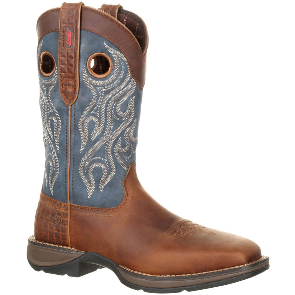 Image for Durango Men's Pull-On Safety Boots - Dark Brown/ Denim Blue from bootbay