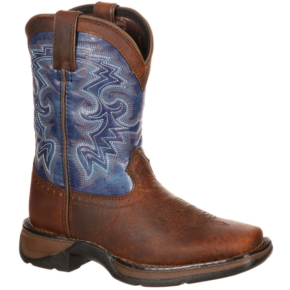 Image for Lil' Durango Big Kid Western Boots - Dark Brown/Blue from bootbay