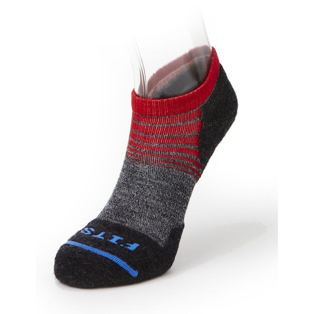 Image for FITS Light Runner (Tri-Stripe) Low Socks - Red/Charcoal from bootbay