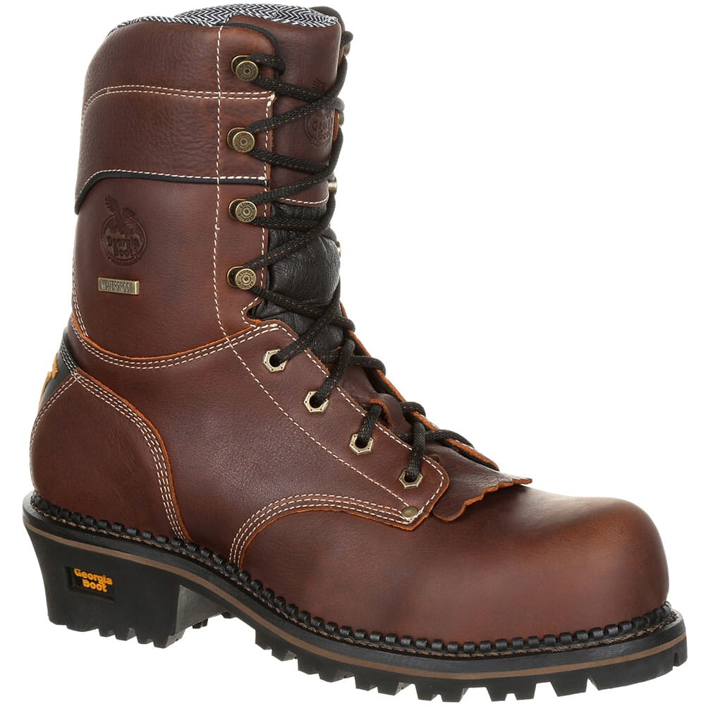 Image for Georgia Men's AMP LT WP Safety Loggers - Brown from bootbay