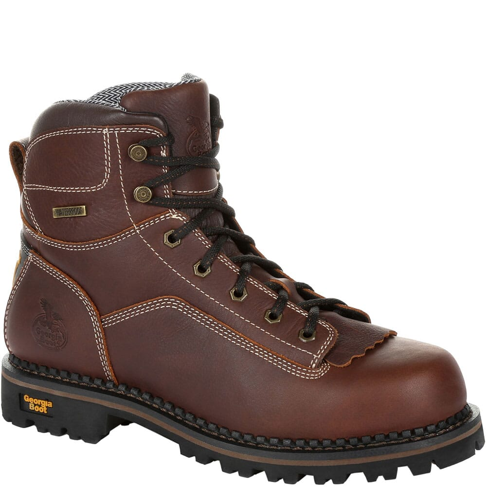Image for Georgia Men's AMP LT WP Work Loggers - Brown from bootbay