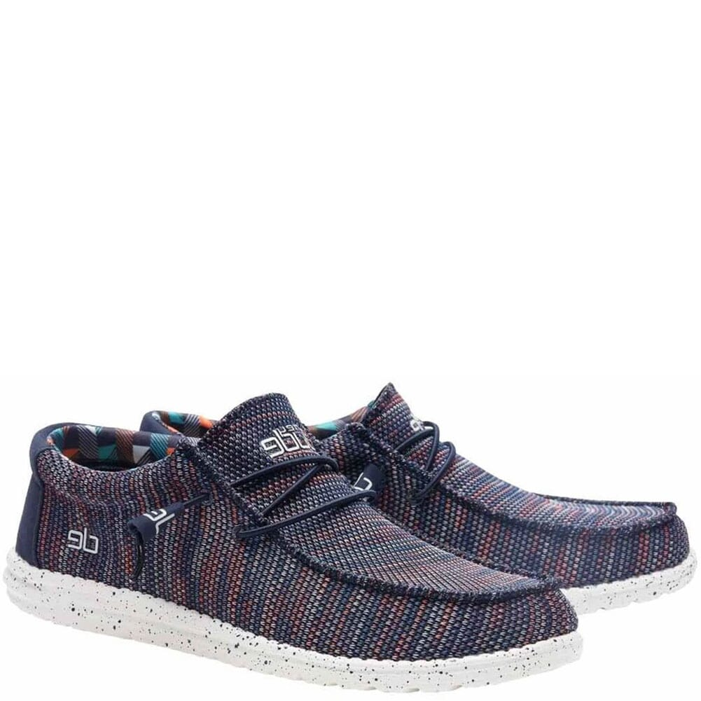 Image for Hey Dude Men's Wally Sox Casual Shoes - Blue/Orange from bootbay