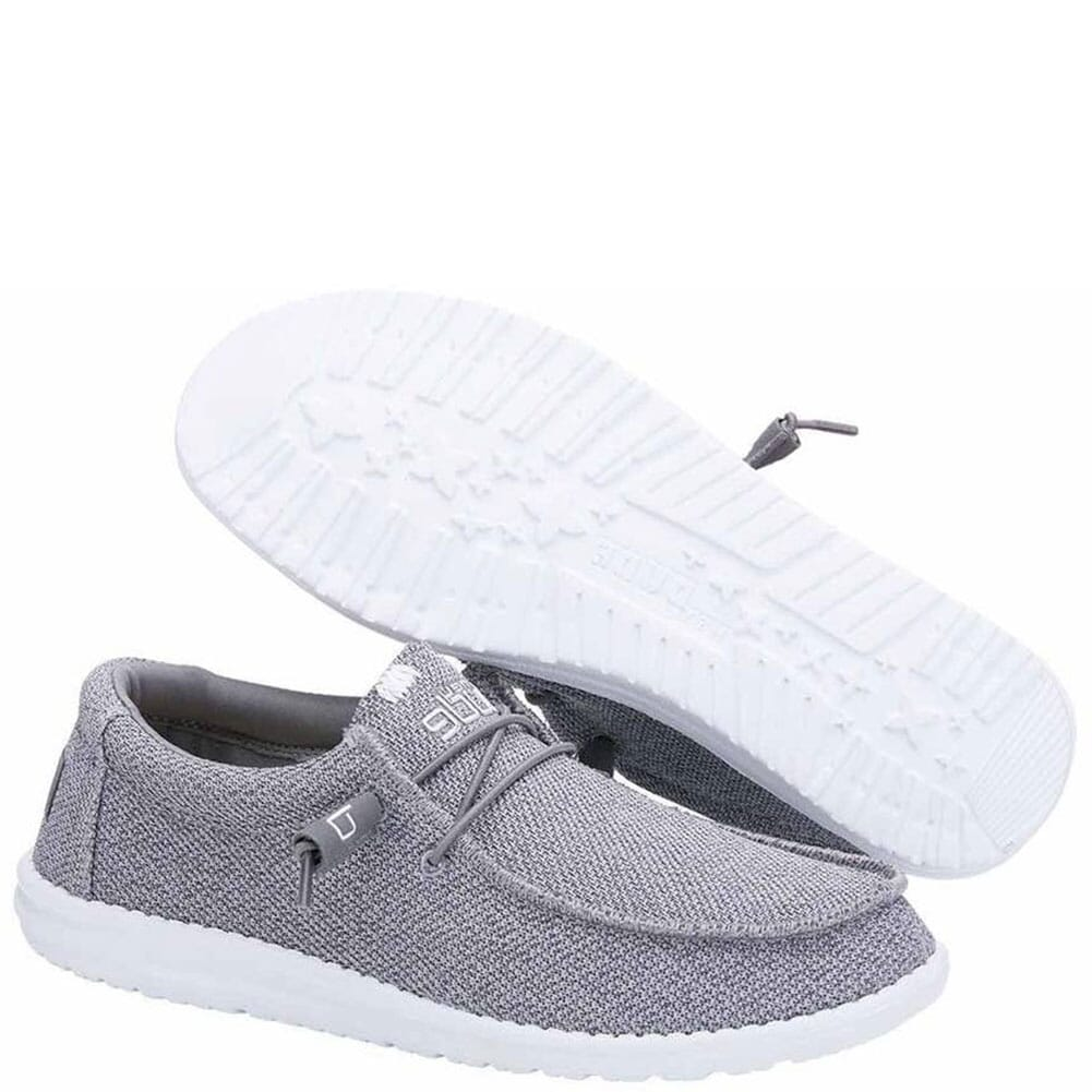 Image for Hey Dude Men's Wally Sox Classic Casual Shoes - Grey White from bootbay