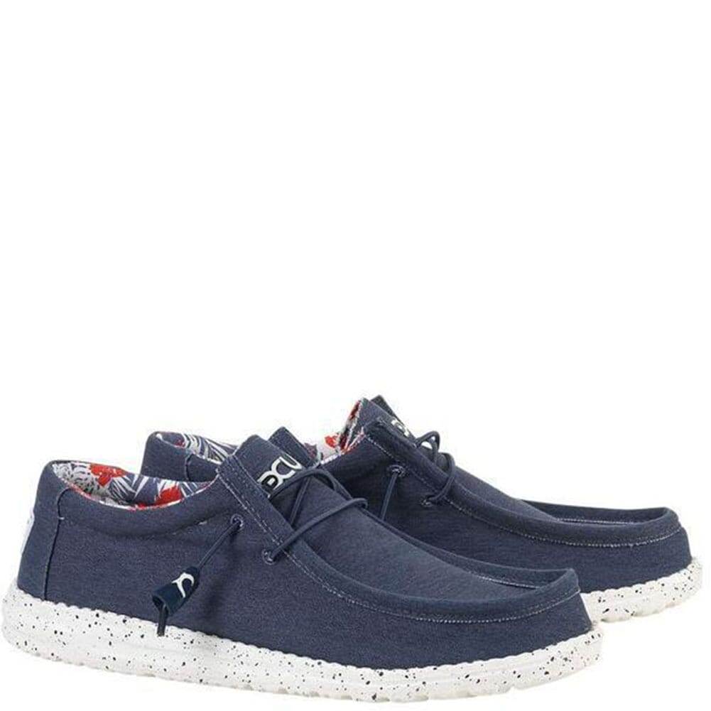 Image for Hey Dude Men's Wally Stretch Casual Shoes - Blue from bootbay