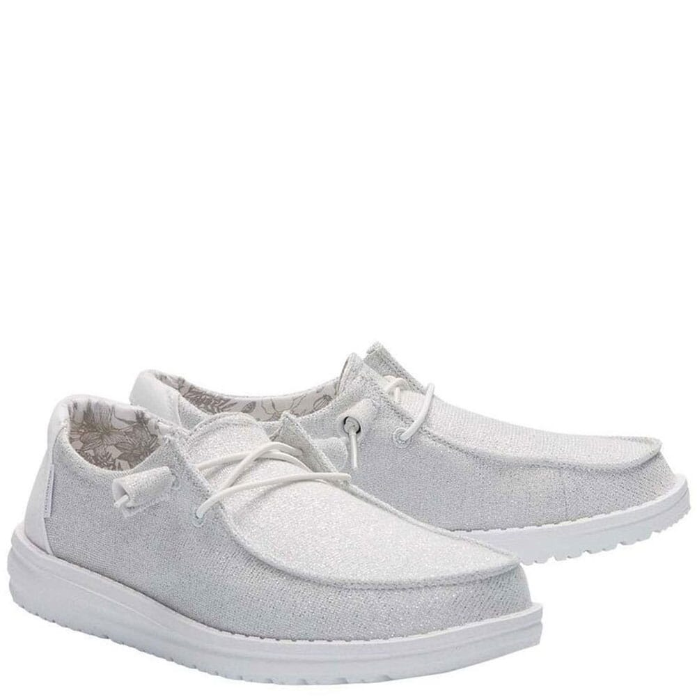 Image for Hey Dude Women's Wendy Sparkling Casual Shoes - White from bootbay