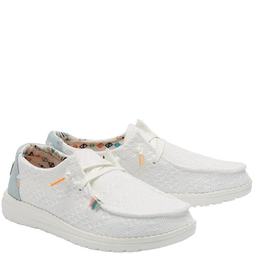 Image for Hey Dudes Women's Wendy Boho Casual Shoes - White Crochet from bootbay