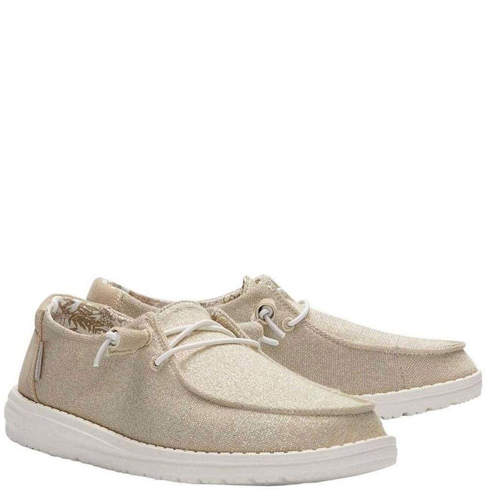 Image for Hey Dude Women's Wendy Sparkling Canvas Casual Shoes - Beige from bootbay