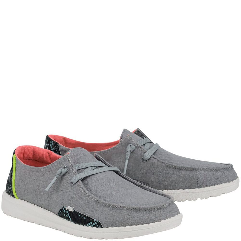 Image for Hey Dude Women's Wendy Snake Casual Shoes - Steel Grey from bootbay