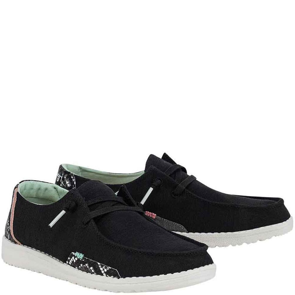 Image for Hey Dude Women's Wendy Snake Casual Shoes - Black from bootbay