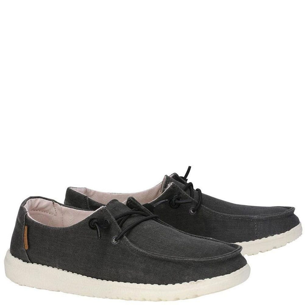 Image for Hey Dude Women's Wendy Chambray Casual Shoes - Off Black from bootbay