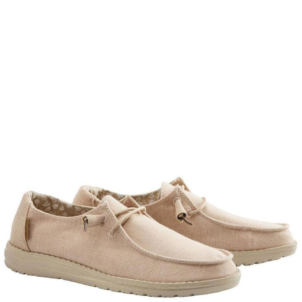 Image for Hey Dude Women's Wendy Chambray Casual Shoes - Peach from bootbay