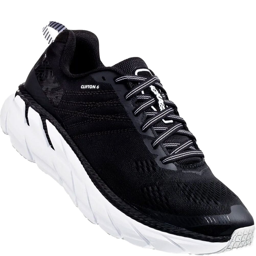 Image for Hoka One One Men's Clifton 6 Running Shoes - Black/White from bootbay