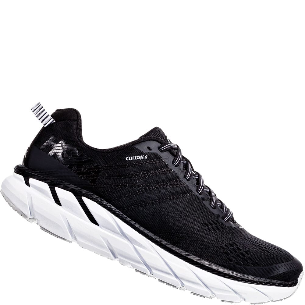 Image for Hoka One One Women's Clifton 6 Running Shoes - Black/White from bootbay