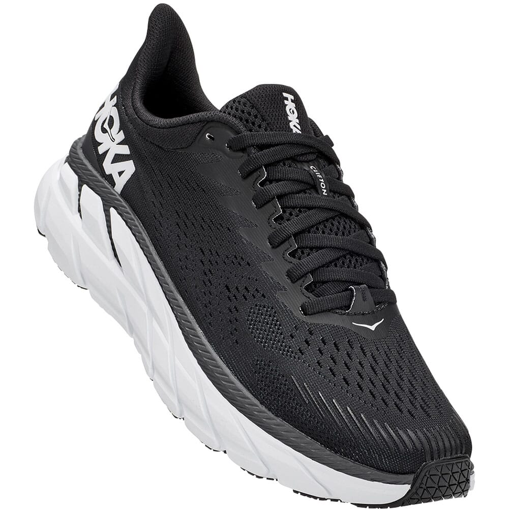 Image for Hoka One One Women's Clifton 7 Running Shoes - Black/White from elliottsboots