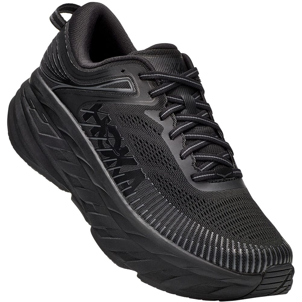 Image for Hoka One One Women's Bondi 7 Wide Athletic Shoes - Black from elliottsboots