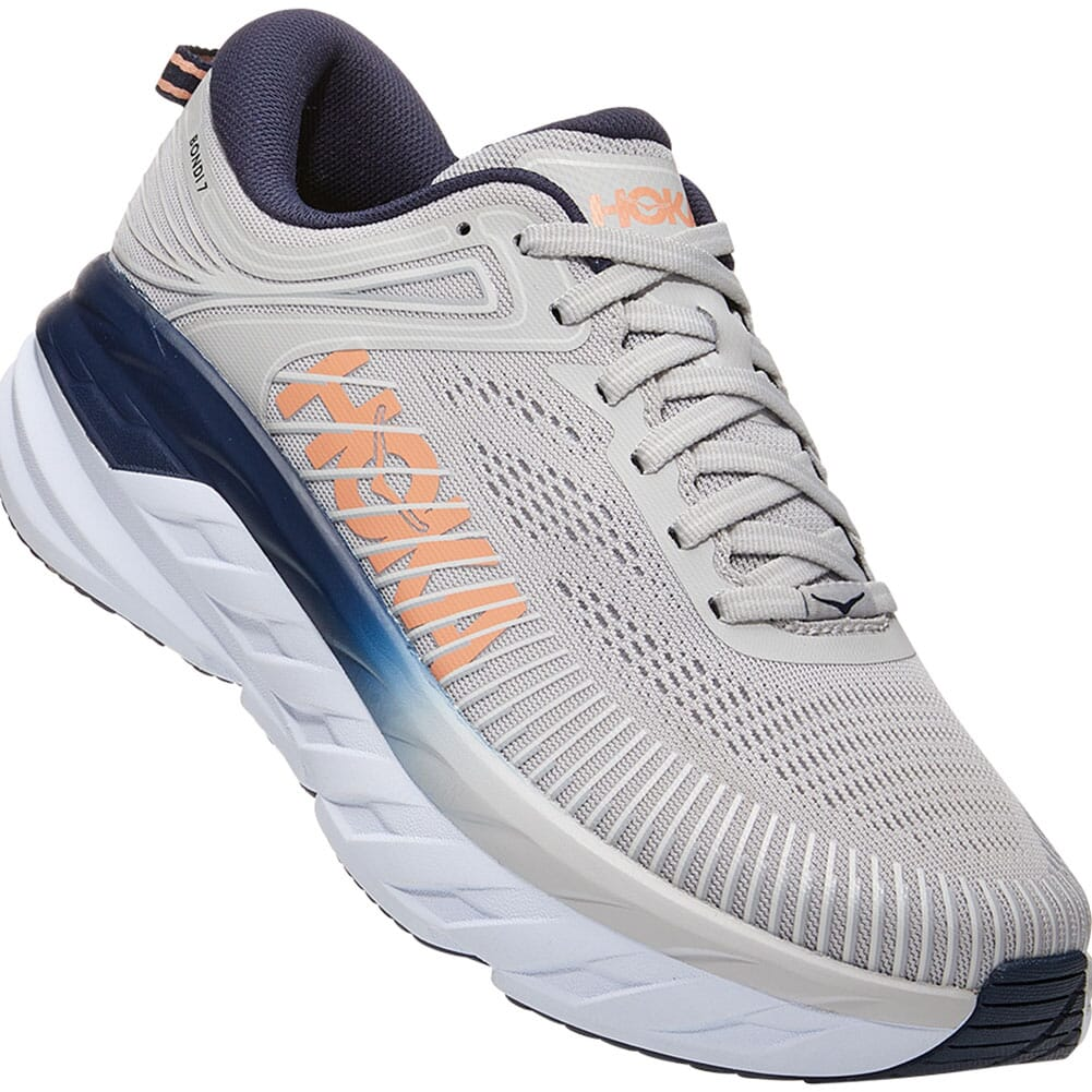 Image for Hoka One One Women's Bondi 7 Wide Athletic Shoes - Lunar Rock from elliottsboots