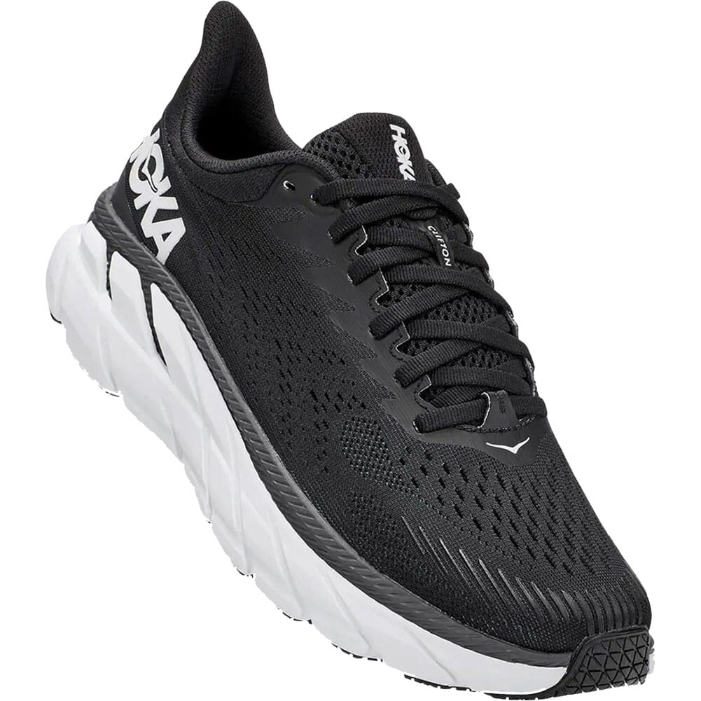 Image for Hoka One One Women's Clifton 7 Wide Running Shoes - Black/White from elliottsboots
